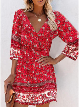 Print/Floral 3/4 Sleeves A-line Above Knee Casual/Boho Skater Dresses