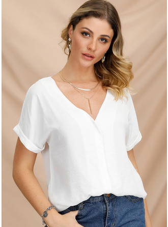 Solid V-Neck Short Sleeves Casual Elegant T-shirts
