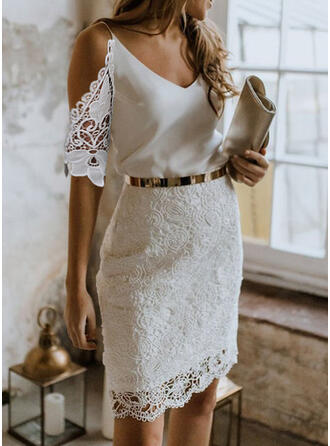 Lace/Solid 1/2 Sleeves/Cold Shoulder Sleeve Bodycon Above Knee Party/Elegant Dresses