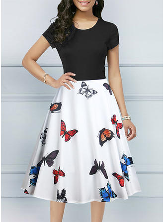 Print Short Sleeves A-line Midi Party Dresses