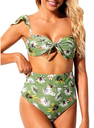 À pois Imprimé Tropical À Bretelles Sexy Bikinis Maillots De Bain