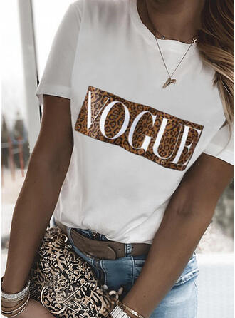 Figure Leopard Print Round Neck Short Sleeves T-shirts