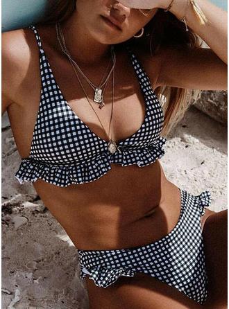 Plaid Strap Sexy Bikinis Swimsuits