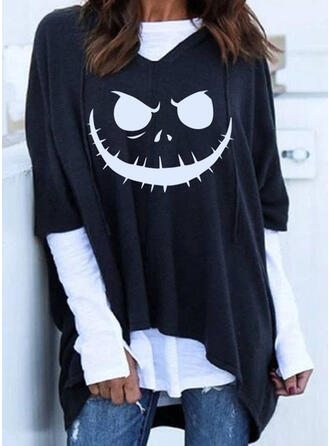 Print Color Block Halloween Lange ærmer Hoodie