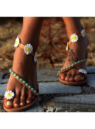 Dla kobiet PU Płaski Obcas Sandały Plaskie Otwarty Nosek Buta Z Kwiaty obuwie
