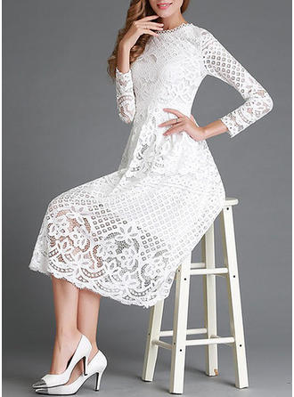 Lace Solid Round Neck Midi A-line Dress