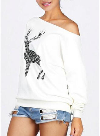Print Off the Shoulder Long Sleeves Casual Christmas Knit Blouses