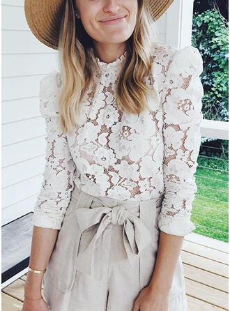 Solid Lace Stand collar Puff Sleeves Long Sleeves Casual Blouses