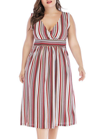 Striped Sleeveless A-line Casual/Plus Size Midi Dresses