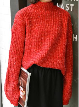 Coton Col Roulé Couleur unie Gros tricot Chandail de Noël moche