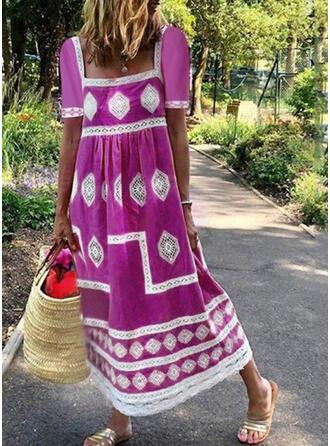 Lace/Print Short Sleeves Shift Casual/Vacation Midi Dresses