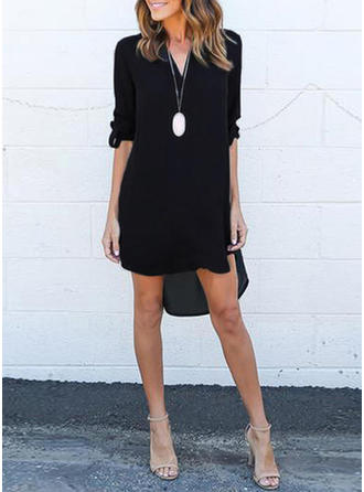 Solid 3/4 Sleeves Shift Asymmetrical Little Black/Casual Dresses