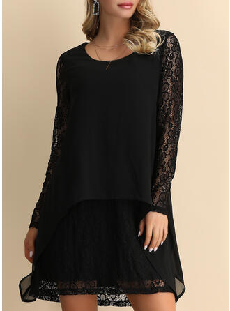 Lace/Solid Long Sleeves Shift Above Knee Little Black/Party/Elegant Tunic Dresses