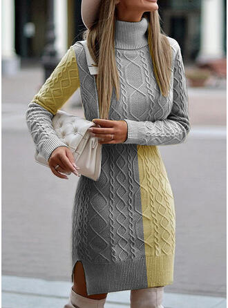 Color Block Long Sleeves Sheath Above Knee Casual Sweater Dresses