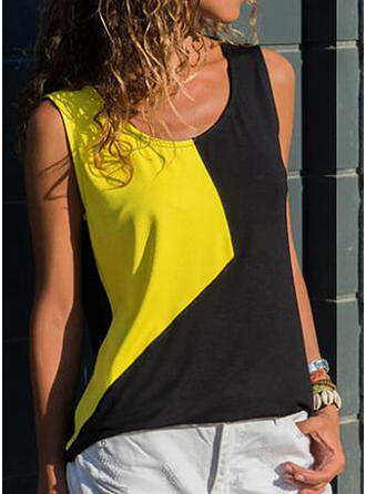 Color Block Round Neck Sleeveless Casual Blouses