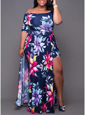 Print Off-the-Shoulder Maxi A-line Dress