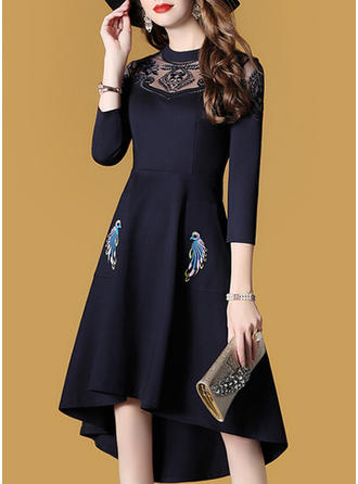 Lace Solid Round Neck Asymmetrical A-line Dress