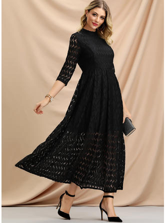 Lace/Solid 3/4 Sleeves A-line Maxi Little Black/Party Dresses