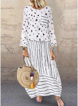 PolkaDot/Striped Long Sleeves Shift Maxi Casual Dresses
