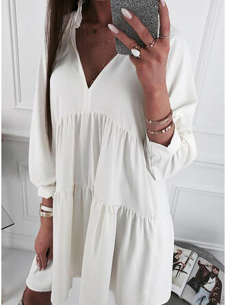 Solid Long Sleeves Shift Knee Length Casual/Vacation Dresses
