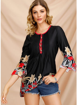 Floral Round Neck Flare Sleeve 3/4 Sleeves Button Up Casual Elegant Blouses