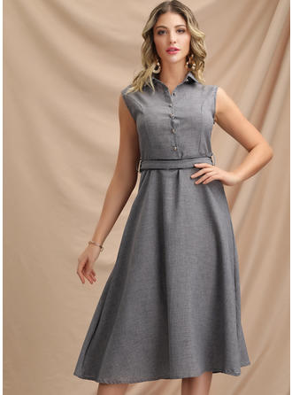 Solid Sleeveless A-line Knee Length Casual/Elegant Dresses