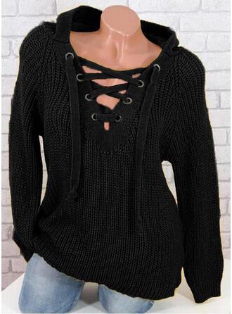 Jednolity Żebrowany Bluza z kapturem Swetry