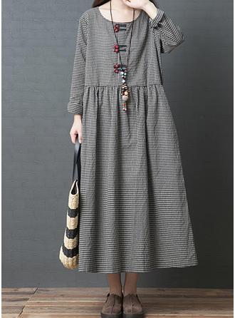 Carreaux Manches Longues Droite Maxi Décontractée Robes