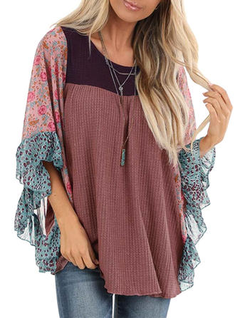 Print Color Block Floral Round Neck 3/4 Sleeves Casual Blouses