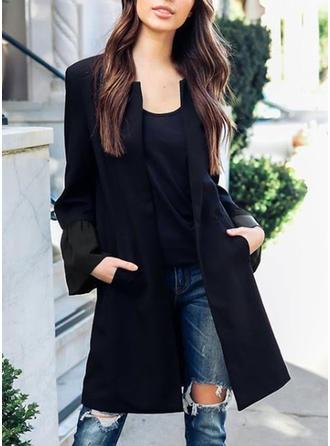 Cotton Blends Long Sleeves Plain Blazers