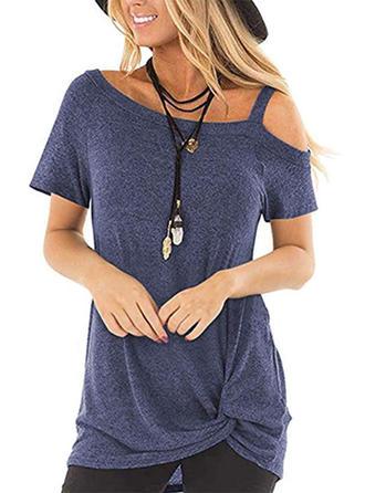 Jednolity Na jedno ramię Krótkie rękawy Casual T-shirty