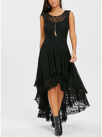 Lace/Solid Sleeveless A-line Asymmetrical Little Black/Party/Elegant Dresses