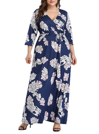 Print 3/4 Sleeves A-line Maxi Casual/Boho/Vacation Dresses