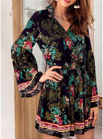 Print Floral V-neck Above Knee A-line Dress