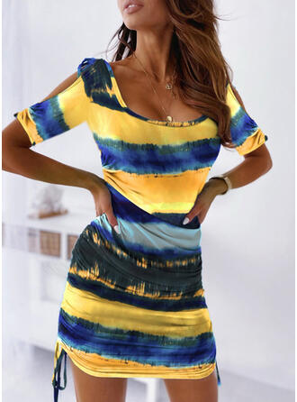 Tie Dye 1/2 Sleeves Bodycon Above Knee Casual Dresses