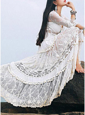 Lace/Solid Long Sleeves A-line Maxi Casual/Party/Vacation Dresses