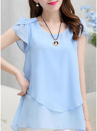 Plain Round Neck Short Sleeves Casual Blouses