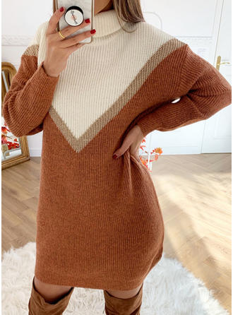 Color Block High Neck Sweater Dress