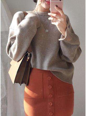 Akryl Okrągły Dekolt Jednolity kolor Swetry