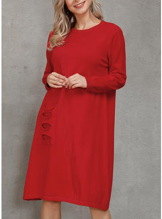 Couleur Unie Poches Col Rond Robe Pull