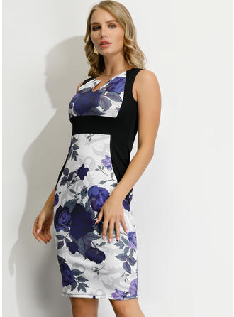 Print/Floral Sleeveless Bodycon Knee Length Casual/Elegant Dresses