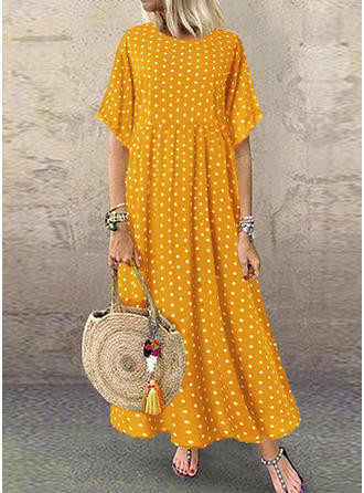 PolkaDot 1/2 Sleeves Shift Maxi Casual Dresses