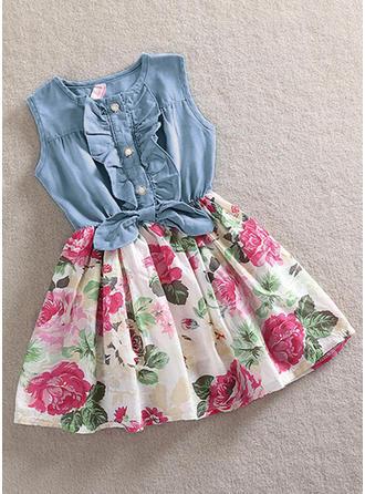 Dziewczyny Okrągły Dekolt Kwiatowy Wydrukować Żabot Nieformalny Ładny Sukienka