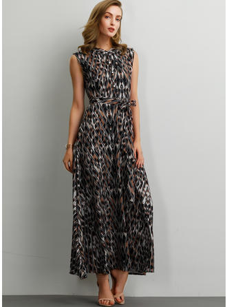 Animal Print Sleeveless A-line Maxi Casual Dresses