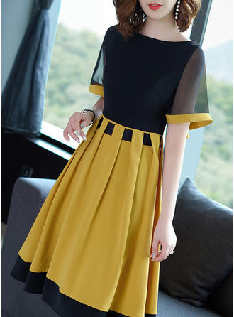 Color-block Round Neck Knee Length A-line Dress