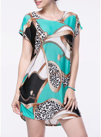 Print Round Neck Above Knee Shift Dress