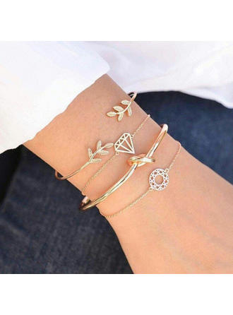 Leaves Shaped Alloy Women's Bracelets (Set of 4)