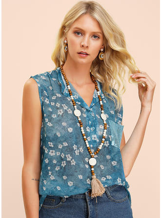 Print Blomster Pailletter V-hals Ingen ærmer Button-up Casual Tank tops