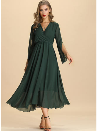 Solid Split Sleeve A-line Maxi Party/Elegant Dresses