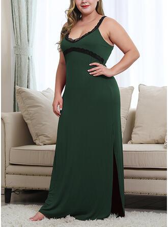 Lace/Patchwork Sleeveless Shift Plus Size Maxi Dresses